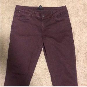 Forever 21 Pants - FOREVER 21 | Burgundy Moto Skinnies
